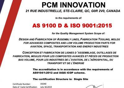 A5040 PCM Innovation Certificate Rev A-Re-Cert